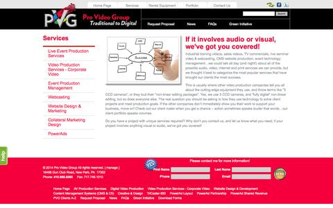 Screenshot of Services Page provideogroup.com - Production Management : Video Production Services : Webcasting : Website Design & Marketing : Collateral Design - captured Sept. 30, 2014