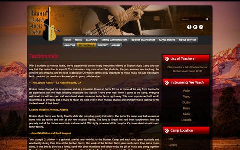 Screenshot of Testimonials Page boohercamp.com - Testimonials - :: Booher Music Camp, Oregon :: ::: Booher Music Camp, Oregon :: - captured Oct. 5, 2014