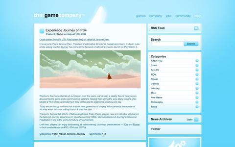 Screenshot of Blog thatgamecompany.com - thatgamecompany | TGC   » Blog - captured June 17, 2015