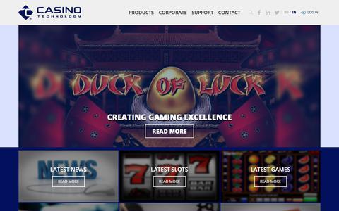 Screenshot of Home Page casino-technology.com - Casino Technology - captured May 26, 2018