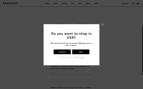 Screenshot of Signup Page mango.com - Mujer - captured Nov. 16, 2018