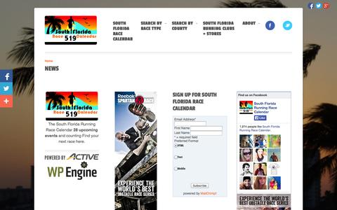 Screenshot of Press Page sflracecalendar.com - News | South Florida Race Calendar - captured Oct. 6, 2014