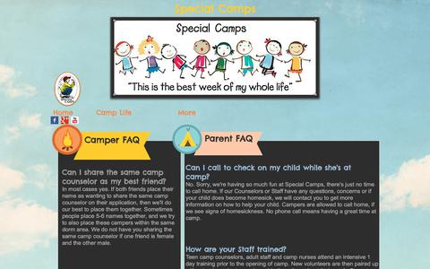 Screenshot of FAQ Page specialcamps.org - Special Camps Overnight Summer Camp | Q&A - captured June 15, 2017