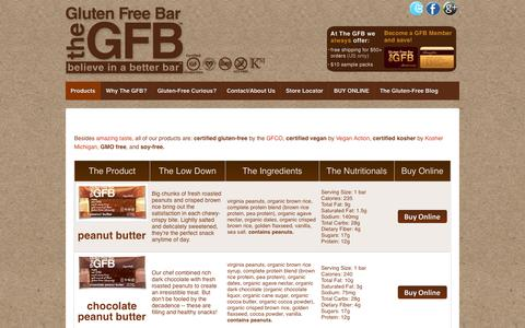 Screenshot of Products Page theglutenfreebar.com - Products | The GFB: Gluten Free Bar - captured Nov. 2, 2014