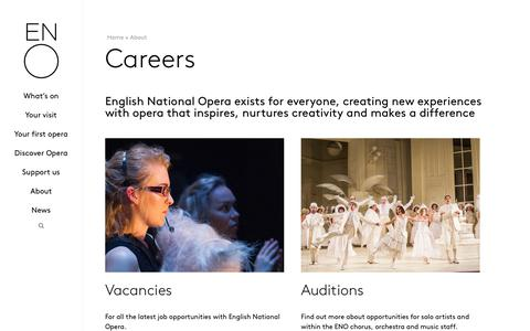Screenshot of Jobs Page eno.org - Careers | Careers Opportunities with ENO | English National Opera - captured Nov. 18, 2019