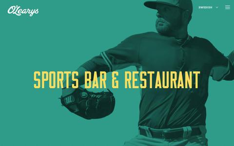 Screenshot of Home Page olearys.se - Sports Bar & Restaurant | O'Learys Sweden - captured Oct. 1, 2018