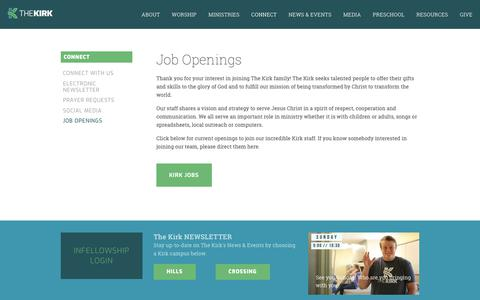 Screenshot of Jobs Page thekirk.com - Job Openings at The Kirk. — The Kirk - captured Oct. 15, 2018