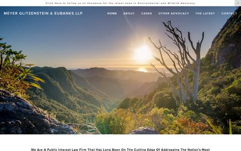 Screenshot of Home Page meyerglitz.com - Meyer Glitzenstein & Eubanks LLP - captured Sept. 6, 2015