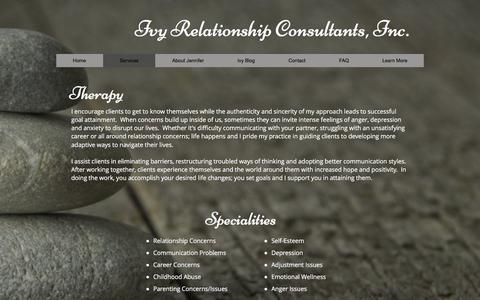 Screenshot of Services Page ivyrelationships.com - Services - captured Nov. 26, 2016