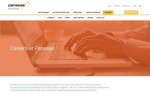 Screenshot of Jobs Page panasas.com - Careers at Panasas | Panasas - captured July 12, 2018