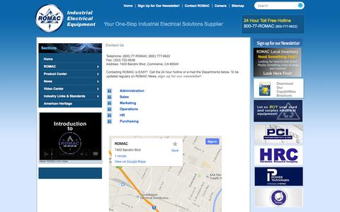 Screenshot of Contact Page Support Page romacsupply.com - ROMAC Supply  Industrial Electric Breakers and Components | 7400 Bandini Blvd Commerce, CA 90040 | (800) 777-6622: Contact Us - captured Oct. 26, 2014
