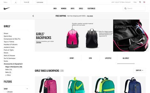 Screenshot of nike.com - Girls' Backpacks & Book Bags. Nike.com - captured July 30, 2016