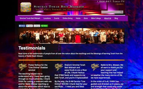 Screenshot of Testimonials Page stbm.org - Testimonials  - Simchat Torah Beit Midrash - captured Sept. 30, 2014