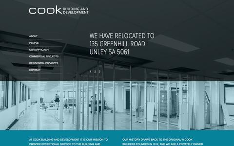 Screenshot of Home Page cookbuild.com.au - Cook Building & Development - Commercial Builder Adelaide - New Homes & Renovations - captured Jan. 31, 2016