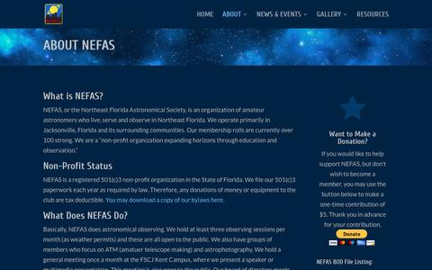 Screenshot of About Page nefas.org - About NEFAS   NEFAS - captured June 30, 2018
