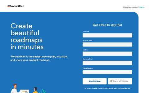 Screenshot of Trial Page productplan.com - Sign Up for a Free 14-Day Trial   ProductPlan - captured Jan. 11, 2020