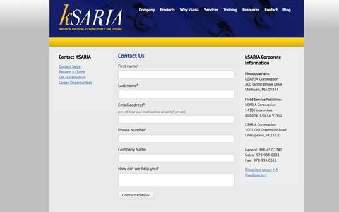 Screenshot of Contact Page ksaria.com - Contact kSARIA | Mission Critical Connectivity Solutions - captured Dec. 4, 2015