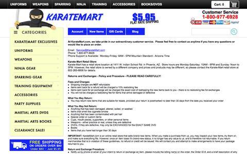 Screenshot of Privacy Page Contact Page Support Page karatemart.com - KarateMart.com - Customer Service - captured Dec. 1, 2016