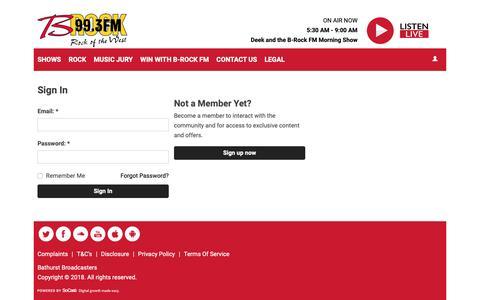 Screenshot of Login Page brockfm.com.au - Sign In | 99.3 B-Rock FM - captured Oct. 22, 2018