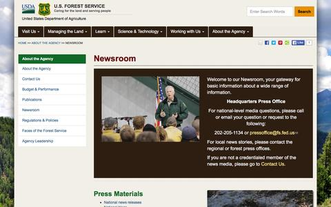Screenshot of Press Page fs.fed.us - Newsroom | US Forest Service - captured May 23, 2016