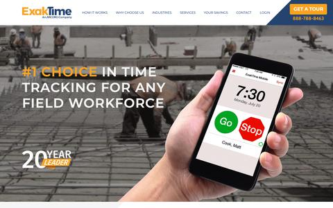 Screenshot of Home Page exaktime.com - ExakTime: #1 Time Tracking Solution for Construction and More - captured Jan. 20, 2019