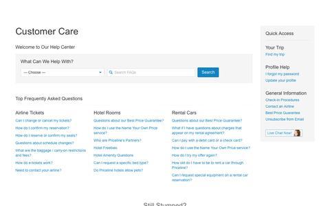 Screenshot of Contact Page FAQ Page priceline.com captured Dec. 31, 2016