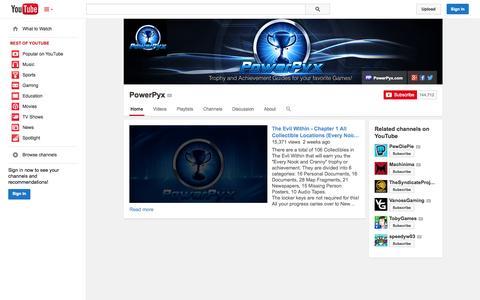 Screenshot of YouTube Page youtube.com - PowerPyx  - YouTube - captured Oct. 31, 2014
