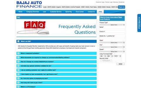 Screenshot of FAQ Page bajajautofinance.com - Bajaj Finance Ltd::Bajaj Auto Finance - captured Oct. 30, 2014