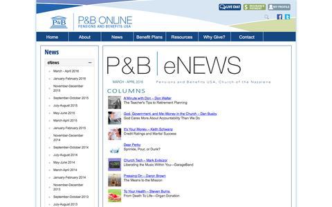 Screenshot of Press Page pbusa.org - eNews - captured May 4, 2016