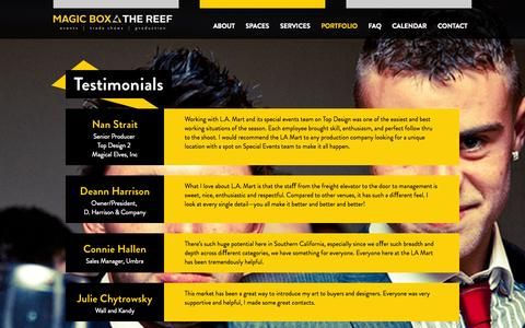 Screenshot of Testimonials Page magicboxla.com - Testimonials | Magic Box downtown Los Angeles event space - captured Oct. 4, 2014