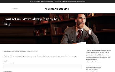 Screenshot of Contact Page customsuitsyou.com - Contact us. We're always happy to help. | Nicholas Joseph - captured Jan. 24, 2017