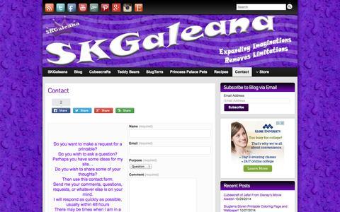 Screenshot of Contact Page skgaleana.com - Contact SKGaleana | SKGaleana - captured Oct. 30, 2014