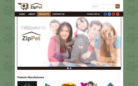 Screenshot of Products Page zippet.co - Zip Pet - captured Oct. 7, 2014
