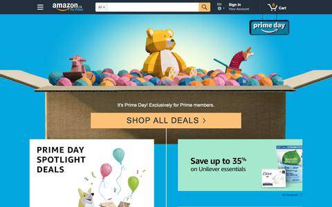 Screenshot of Home Page amazon.ca - Amazon.ca: Online shopping in Canada - books, electronics, Kindle, home & garden, DVDs, tools, music, health & beauty, watches, baby, sporting goods & more - captured July 17, 2018