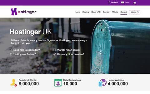 Screenshot of Contact Page hostinger.co.uk - Our Company - captured May 21, 2016