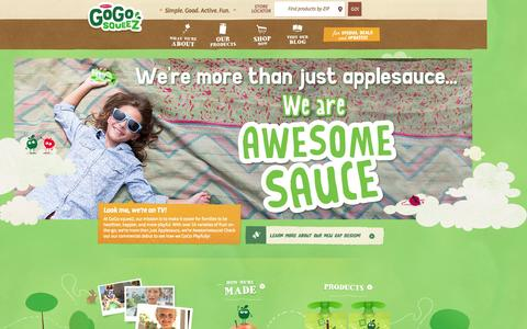 Screenshot of Home Page gogosqueez.com - GoGo squeeZ | All-Natural Healthy Snacks on the Go - captured Sept. 23, 2014