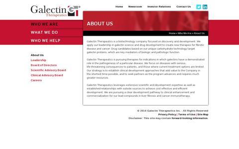 Screenshot of About Page galectintherapeutics.com - Galectin Therapeutics (NASDAQ: GALT) - captured July 19, 2014
