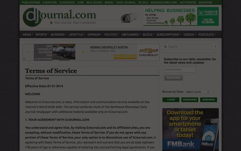 Screenshot of Terms Page djournal.com - Terms of Service - Daily Journal - captured Jan. 30, 2016