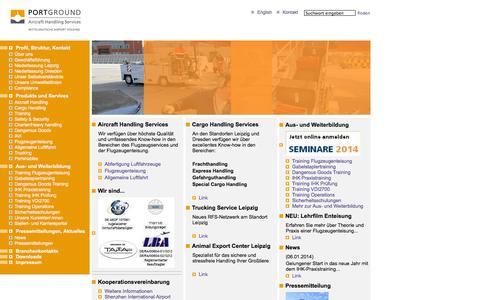 Screenshot of Home Page portground.com - PortGround GmbH - captured Oct. 2, 2014