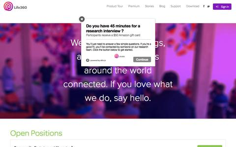 Screenshot of Jobs Page life360.com - Jobs   Life360 - The New Family Circle - captured March 11, 2016