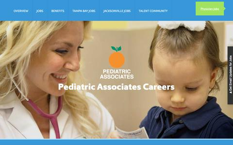 Screenshot of Jobs Page pediatricassociates.com - Pediatric Associates Jobs: Overview   Pediatric Associates - captured Sept. 27, 2018