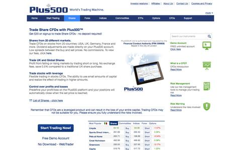 Plus500 | Plus500 Shares CFD | Online Share CFD Trading | Stocks CFD Trading