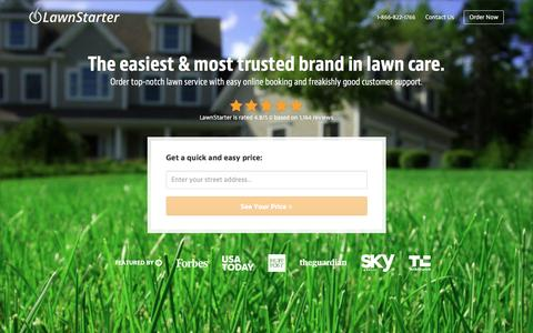 Screenshot of Home Page lawnstarter.com - LawnStarter, The Easiest Way To Order Lawn Care | Get a Quote in Seconds - captured March 5, 2016