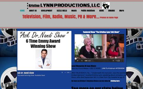 Screenshot of Home Page lynntvproductions.com - Joan River's Interview with Kristina Lynn - captured Oct. 3, 2014