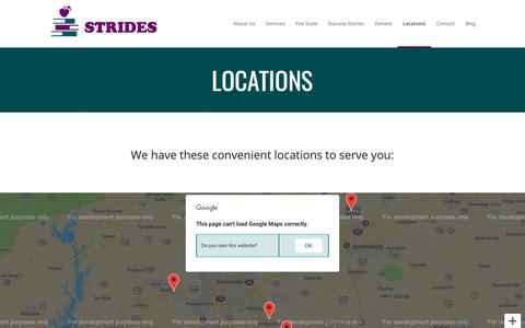 Screenshot of Locations Page stridestutor.org - STRIDES Tutoring |   Locations - captured Oct. 1, 2018