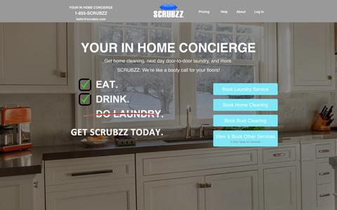 Screenshot of Home Page scrubzz.com - SCRUBZZ - Your In House Concierge - captured Aug. 16, 2016