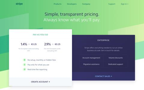 Screenshot of Pricing Page stripe.com - Stripe: Pricing - captured Jan. 3, 2017