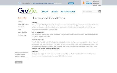 Screenshot of Terms Page gro-via.com - Terms and Conditions | | GroVia - captured Sept. 19, 2014