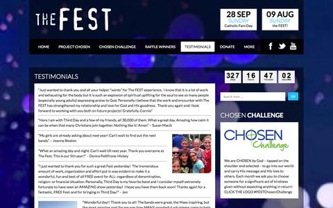 Screenshot of Testimonials Page thefest.us - Testimonials  the FEST - captured Sept. 22, 2014