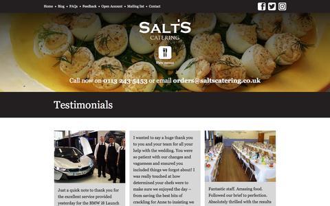 Screenshot of Testimonials Page saltscatering.co.uk - Testimonials - Salt's Catering - captured July 27, 2018